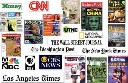 Logos and magazines covers of various media outlets