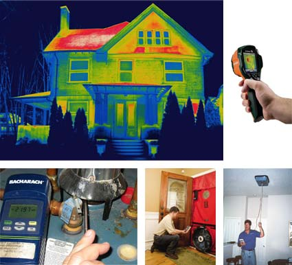 Clockwise: IR thermograph, IR camera, Air flow measurement, Blower door, Combustion test for water heater